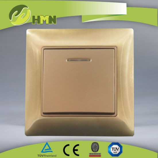Ce/TUV/BV Certified European Standard Metal Zinc 1Gang With LED GOLD Wall Switch
