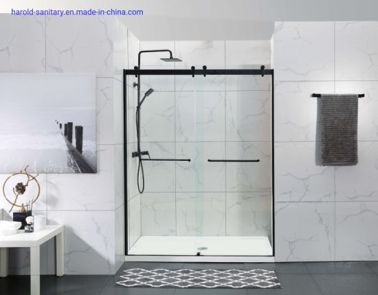 Matt Black Double Sliding Shower Enclosure Commerical Design