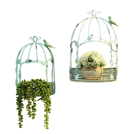 Home Decor Bird Cage Ironwork Hanging Wall Adornment TV Background Piece Flower Basket Table Personality Creation
