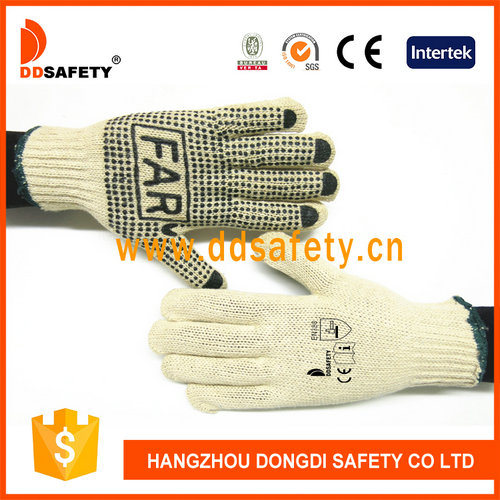 Dotted Cotton Safety Gloves with Icon in Palm