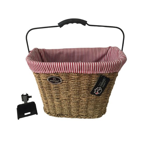 Wicker Bike Basket with Handle and Qr (HBK-148)
