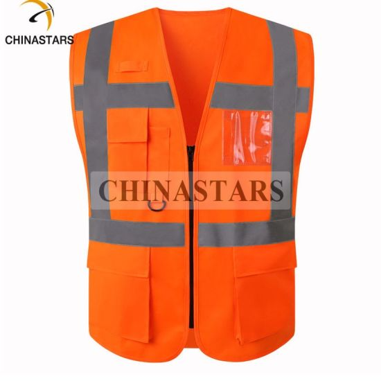 100% Polyester Custom Hi Vis Vest with Pocket for Europe Makket