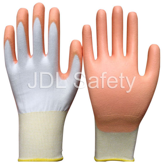 White Nylon Work Glove with PU Palm Coated (PN8006)
