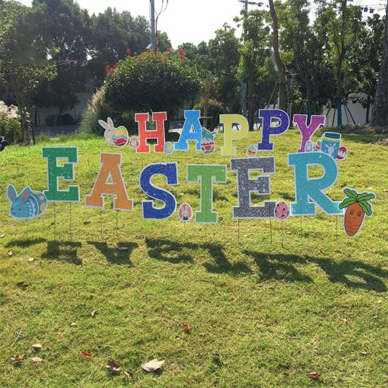 Outdoor Grassy Straight-Cut Signs Decorated Happy Easter Yard Sign