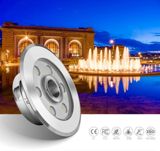 9W 24V IP68 Waterproof RGB DMX512 Control LED Lights for Fountains