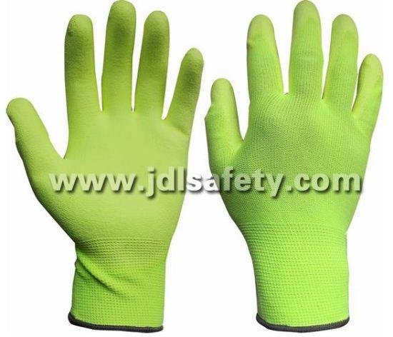 Hi Viz Yellow Work Glove with PU Palm Coated (PN8008)