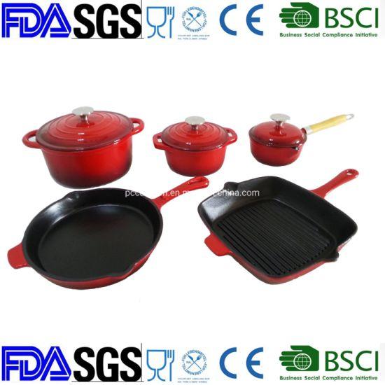 Non-Stick Enamel Cast Iron Cooker Grill Skillet Casserole