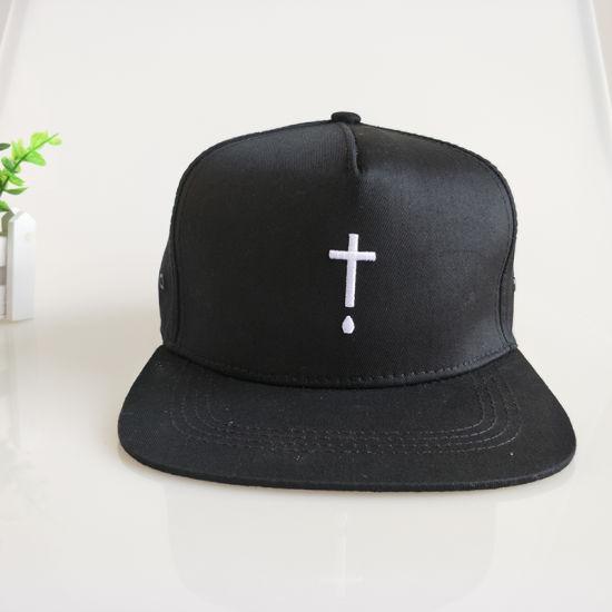 ddd1c9b57a294 China Custom Black 6 Panel Cotton Will Snapback Cap Flat Brim Hat ...