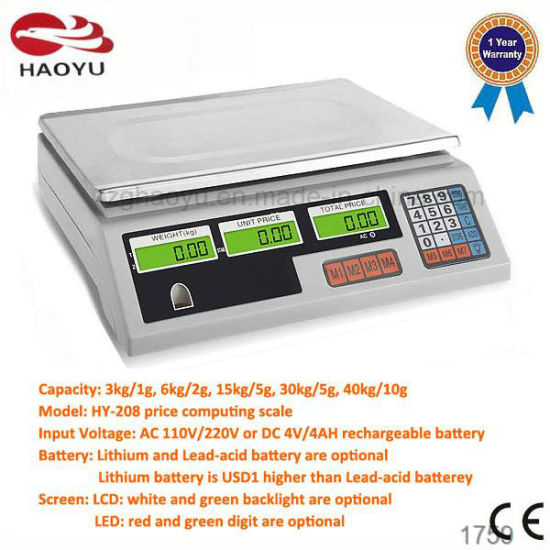 Electronic Weighing Price Scale Scales with Rechargeable Battery