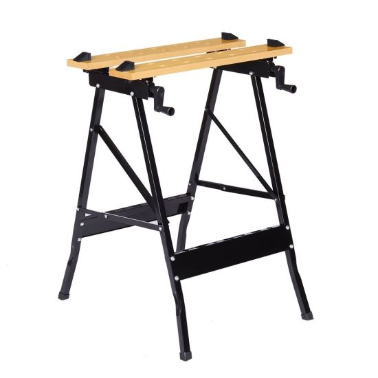 Multi-Purpose Folding Workbench and Vice Portable Work Table Sawhorse with Quick Clamp Pegs and Tool Holders for Carpenter Build