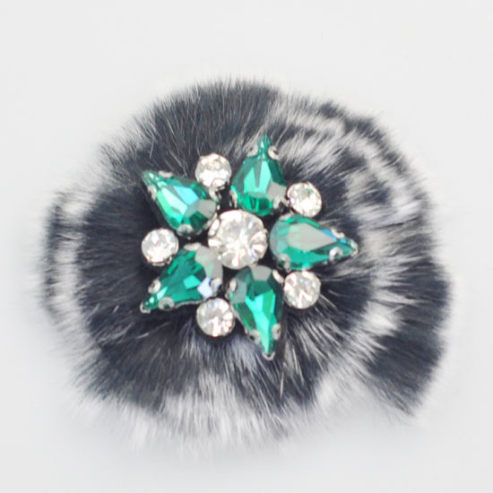 Fuzzy Ball Beaded Patch with Rhinestone for Hat Decoration