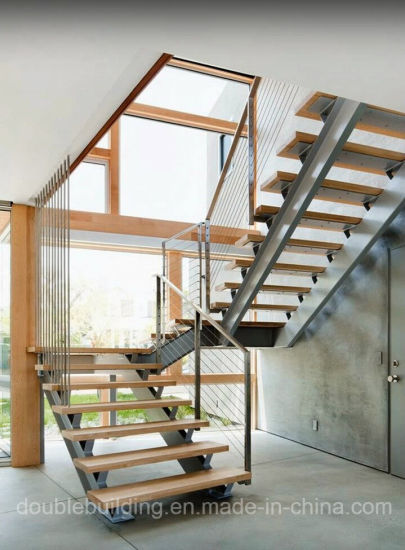 Customized Double Stringer Hardwood Stairs Commercial Staircase pictures & photos