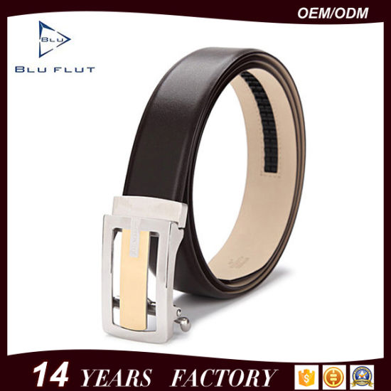 Men's Belt Genuine Cowhide Leather Auto Metal Buckle Ratchet Belt