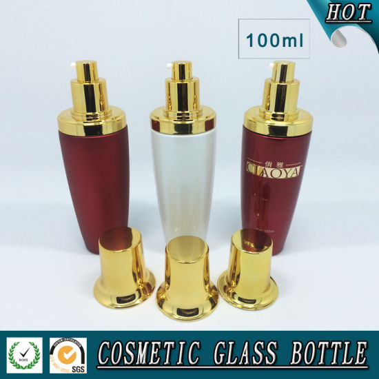 100ml Red White Coloured Cosmetic Glass Pump Bottle pictures & photos