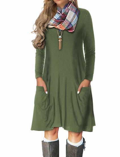 Women Fashion Armgreen Knit Two Pocket Long Sleeve Knee Dress pictures & photos