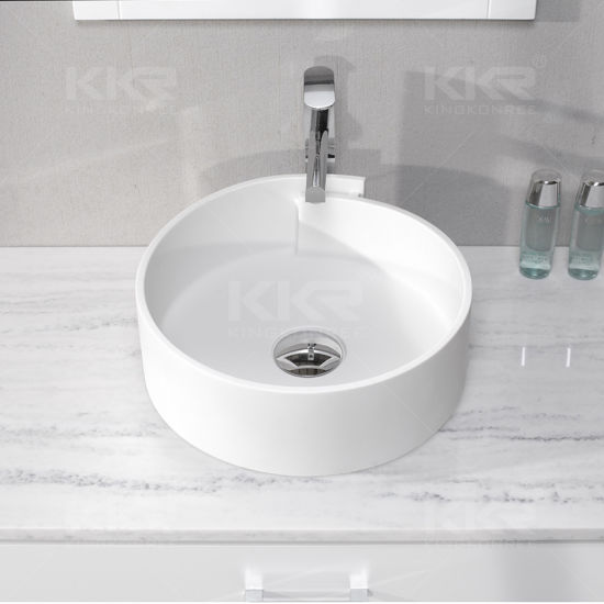 European Style White Moulded Solid Surface Vanity Sinks