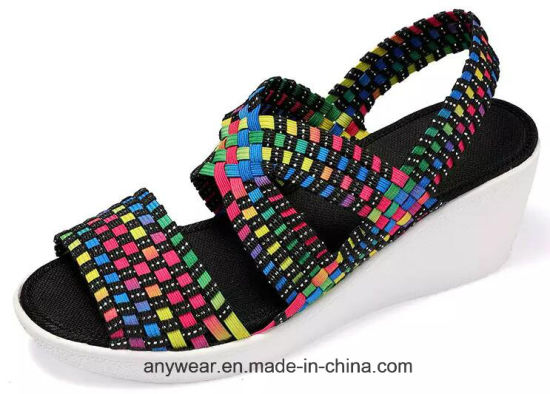Fashion Knitting Shoes Women Woven Sandal (465) pictures & photos