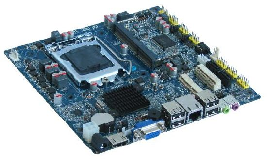 Motherboard with DC 12V, Support Intel Core I7, I5, I3 Series Processor