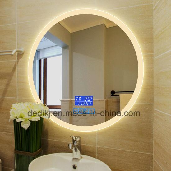 China Dedi Bathroom Makeup Mirror Round Shape Wall Mounted Led