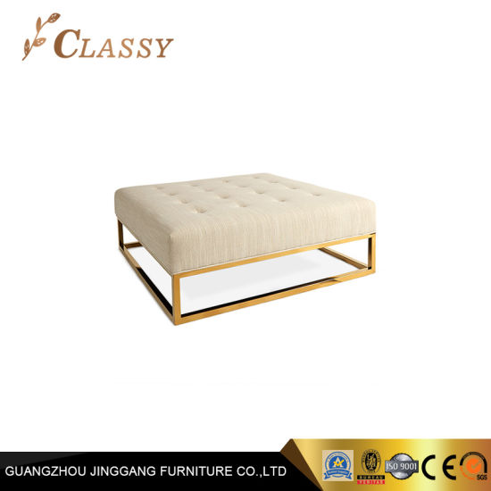 Remarkable China Oversize White Fabric Gold Metal Bench Stool China Machost Co Dining Chair Design Ideas Machostcouk