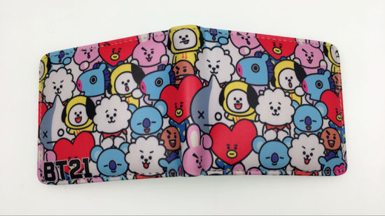 Bt21 Anime Purse  K-Pop Stars Bts PU Fashion Short Wallet