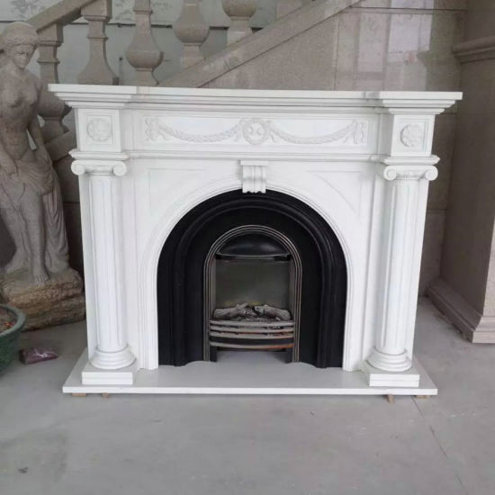 Modern Design White Artificial Stone Fireplaces Surround pictures & photos