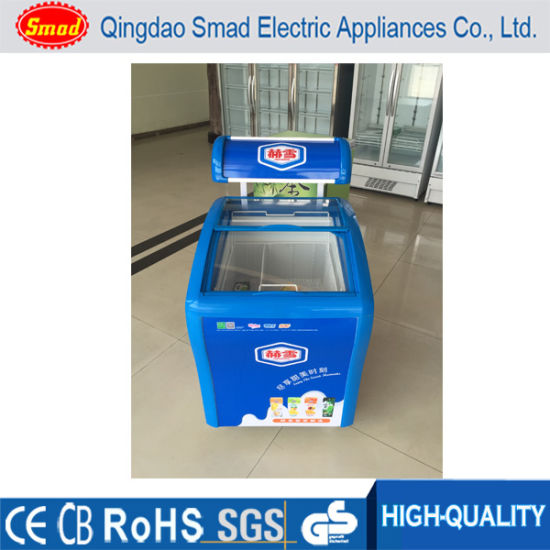 China Food Store Equipment Curved Sliding Glass Door Top Deep
