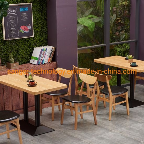 China Rectangle Shape Wood Dining Table With Metal Basement Western