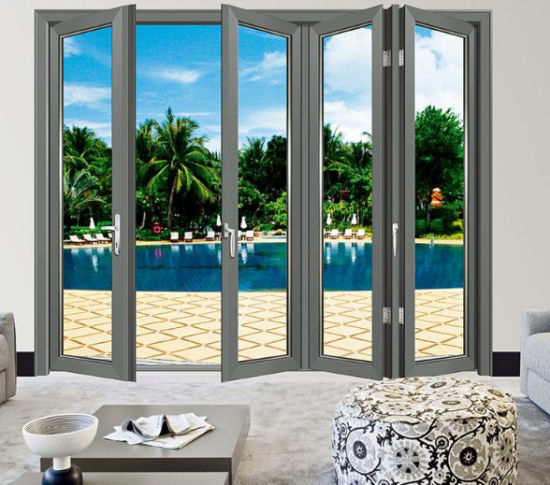 China Decorative Outdoor Horizontal Patio Bi Flod Aluminum Exterior Folding Doors Exterior Accordion Doors China Sliding Window Casement Window