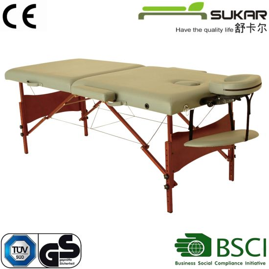 Wholesale Foldable High Quality Hardwood Fram Used in SPA and Beauty Adjustable Height 2-Section Wooden Massage Table