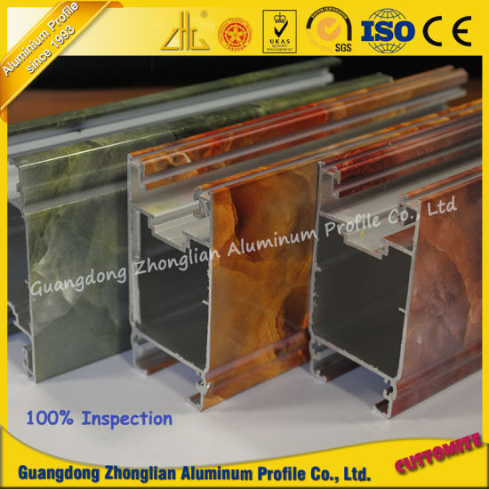 Marble Grain Aluminium Extrusion Profile for Window Frame pictures & photos