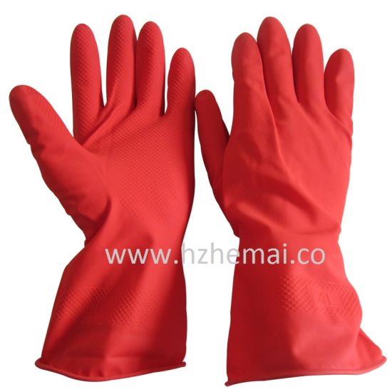 Household Latex Gloves Dish Washing Rubber Kitchen Work Glove pictures & photos