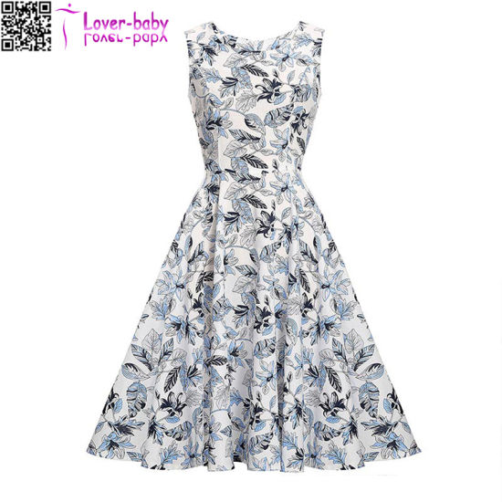 Leaf Print Sleeveless Vintage Dress L36185 pictures & photos