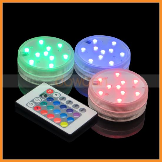 10 LED RGB LED Remote Control Submersible Vase Light for Wedding Party pictures & photos