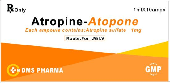 Atropine Sulphate Injection 1ml: 1mg GMP Factory