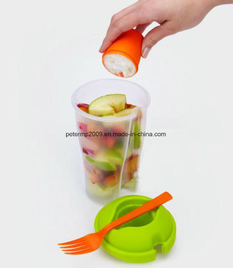 OEM Plastic Salad Fruit Go Serving Cup with Fork pictures & photos