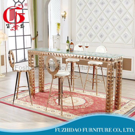 PU Cushion Wholesales Cheap Stainless Steel Bar Table and Chair