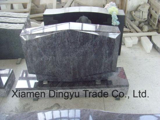 Bahama Blue Granite Diamond Carved Upright Tombstone