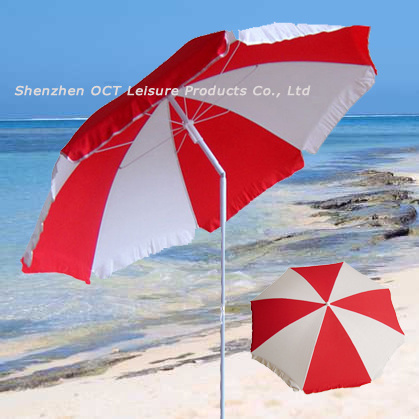 China Red White Beach Umbrella With