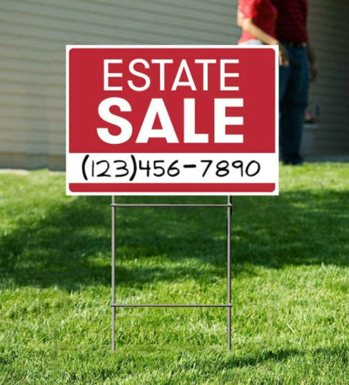 Premium Estate Sale Lawn Sign Kit Customized Yard Signs with H Stake