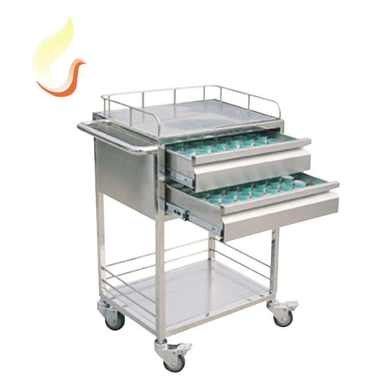 Hospital Instrument Cart Medical Treatment Vehicle Medicine Trolley Stainless Steel Car for Nursing