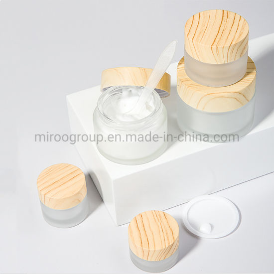 5g 10g 15g 20g 30g 50g 60g Popular Frosted Glass Cosmetic Jar with Bamboo Wooden Grain Cover Plastic Cap for Eye Cream