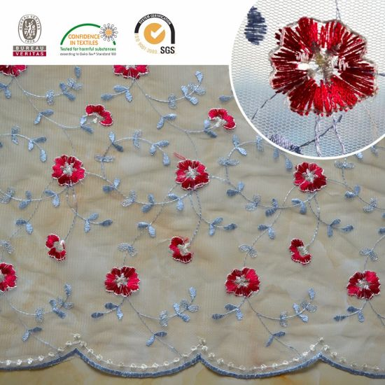 Multi Color Embroidery Mesh Fabric Lace F011