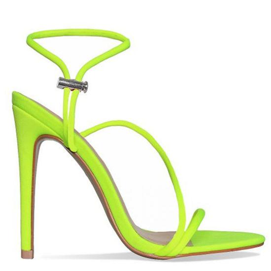 Fluorescent Stiletto High Heels Women Summer Ladies Simple Sandal Lycra Women Shoes