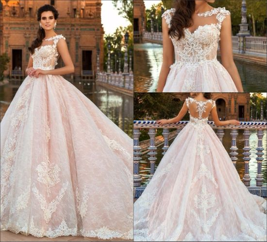 China Lace Bridal Dresses Cap Sleeves Nude Lining Pink Appliqued