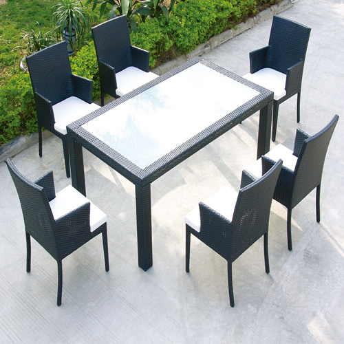 China Patio Garden Diner Sets Tempered Glass Square Table 8 Chairs