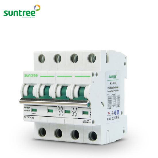 Solar DC Circuit Breaker DC1000V 4 Pole 6A-63A DC MCB on