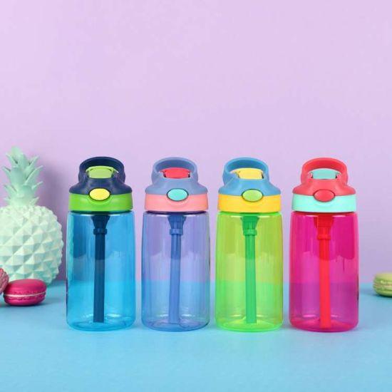 Food Grade Portable Cartoon BPA Free School Kids Plastic Sport Straw Water Bottle for Children Drinking