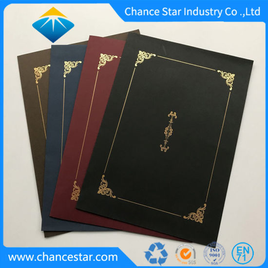 china custom graduation certificate paper holder with foil stamping