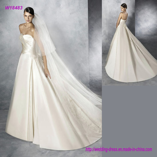 40085a9a81 China Strapless Pleats Sweetheart Neckline and Skirt Satin Wedding ...